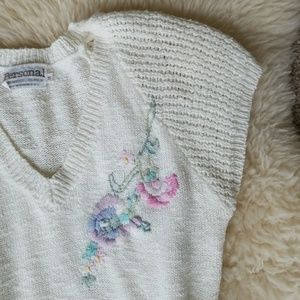 Vintage Embroidered Lacy Light Sweater